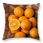 Basket Full Of Oranges Throw Pillow by Garry Gay