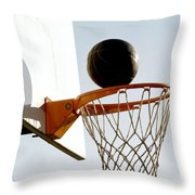 Basketball Hoop And Ball Throw Pillow by Lanjee Chee