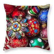 Basketful Of Christmas Ornaments Throw Pillow by Garry Gay