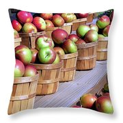 Baskets Of Apples Throw Pillow by Janice Drew