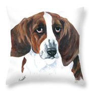 Basset Hound Portrait Throw Pillow by Barb Capeletti