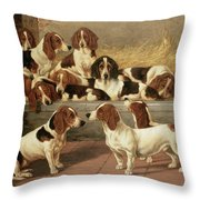 Basset Hounds in a Kennel Throw Pillow by VT Garland