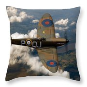 Battle Of Britain Spitfire Throw Pillow by Gary Eason