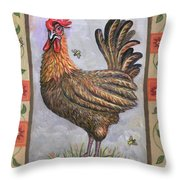 Baxter The Rooster Throw Pillow by Linda Mears