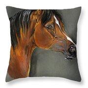 Bay Horse Portrait Throw Pillow by Angel  Tarantella