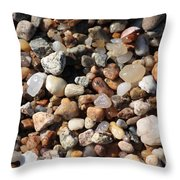 Beach Agates Throw Pillow by Carol Groenen