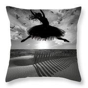 Beach Ballerina Throw Pillow by Nina Bradica