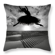 Beach Ballerina Throw Pillow by Nina Bradica