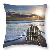 Beach Chairs Throw Pillow by Debra and Dave Vanderlaan
