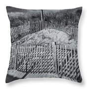 Beach Fence BW Throw Pillow by Susan Candelario
