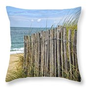 Beach Fence Throw Pillow by Elena Elisseeva