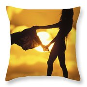 Beach Girl Throw Pillow by Sean Davey