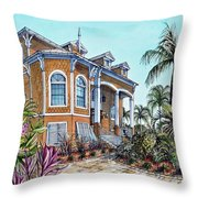 Beach House Throw Pillow by Joan Garcia