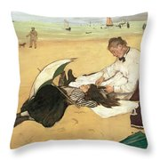 Beach Scene Little Girl Having Her Hair Combed By Her Nanny Throw Pillow by Edgar Degas