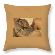 Beach Tattoo Throw Pillow by Stuart Litoff
