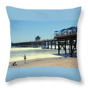 Beach View With Pier 1 Throw Pillow by Ben and Raisa Gertsberg