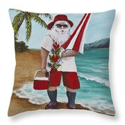 Beachen Santa Throw Pillow by Darice Machel McGuire