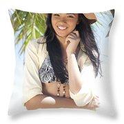 Beachy Woman Throw Pillow by Brandon Tabiolo
