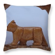Bear In A Cave Throw Pillow by Robert Margetts