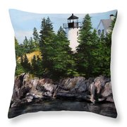 Bear Island Lighthouse Throw Pillow by Jack Skinner