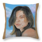 Beautiful And Sexy Actress Jeananne Goossen IIi Altered Version Throw Pillow by Jim Fitzpatrick