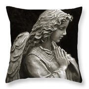 Beautiful Angel Praying Hands Christian Art Print Throw Pillow by Kathy Fornal