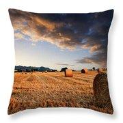 Beautiful Hay Bales Sunset Landscape Digital Paitning Throw Pillow by Matthew Gibson