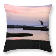 Beautiful Pink And Purple Sunset Over A New England Tidal Salt M Throw Pillow by Marianne Campolongo