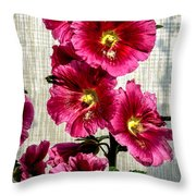 Beautiful Red Hollyhock Throw Pillow by Robert Bales