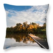 Beautiful sunset over Autumn Fall lake with crystal clear reflec Throw Pillow by Matthew Gibson