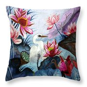 Beauty Of The Lake Hand Embroidery Throw Pillow by To-Tam Gerwe