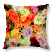 Bed Of Roses Throw Pillow by Tony Grider