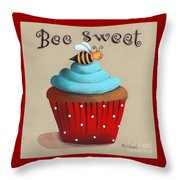 Bee Sweet Cupcake Throw Pillow by Catherine Holman