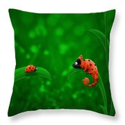 Beetle Chameleon Throw Pillow by Gianfranco Weiss