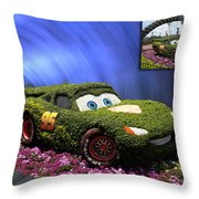 Before And After Sample Art 29 Floral Lightning Mcqueen Throw Pillow by Thomas Woolworth