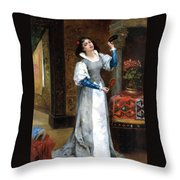 Before The Masked Ball Throw Pillow by Noel Saunier