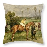 Before The Start Throw Pillow by John Lewis Brown