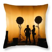 Behind The Scenes Throw Pillow by Lesley DeHaan