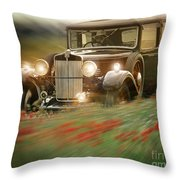 Behind The Wheel Throw Pillow by Edmund Nagele