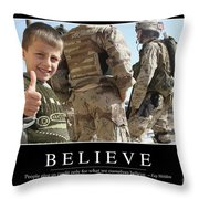 Believe Inspirational Quote Throw Pillow by Stocktrek Images