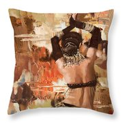 Belly Dancer Back Throw Pillow by Corporate Art Task Force