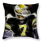 Ben Roethlisberger  - Pittsburg Steelers Throw Pillow by Paul Ward