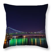 Benjamin Franklin Bridge At Night From Penn's Landing Throw Pillow by Bill Cannon
