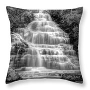 Benton Falls In Black And White Throw Pillow by Debra and Dave Vanderlaan