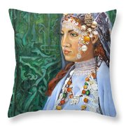 Berber Woman Throw Pillow by Enzie Shahmiri