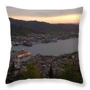 Bergen Sunset Panorama Throw Pillow by Benjamin Reed