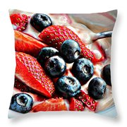 Berries And Yogurt Intense - Food - Kitchen Throw Pillow by Barbara Griffin