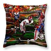 Beware Of The Tiger - Auburn Vs Georgia Football Throw Pillow by Mark Moore
