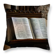 Bible Open On A Lectern Throw Pillow by Louise Heusinkveld