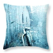 Bicycle In Blue Throw Pillow by Stephanie Frey